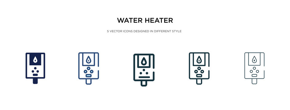 water heater icon in different style vector illustration. two colored and black water heater vector icons designed in filled, outline, line and stroke style can be used for web, mobile, ui