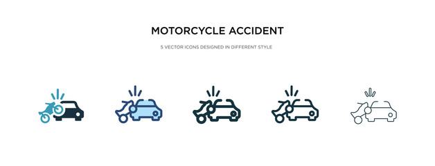 motorcycle accident icon in different style vector illustration. two colored and black motorcycle accident vector icons designed in filled, outline, line and stroke style can be used for web,