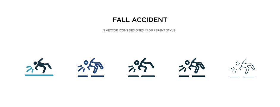 fall accident icon in different style vector illustration. two colored and black fall accident vector icons designed in filled, outline, line and stroke style can be used for web, mobile, ui