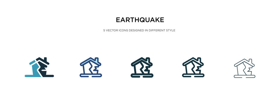 earthquake icon in different style vector illustration. two colored and black earthquake vector icons designed in filled, outline, line and stroke style can be used for web, mobile, ui