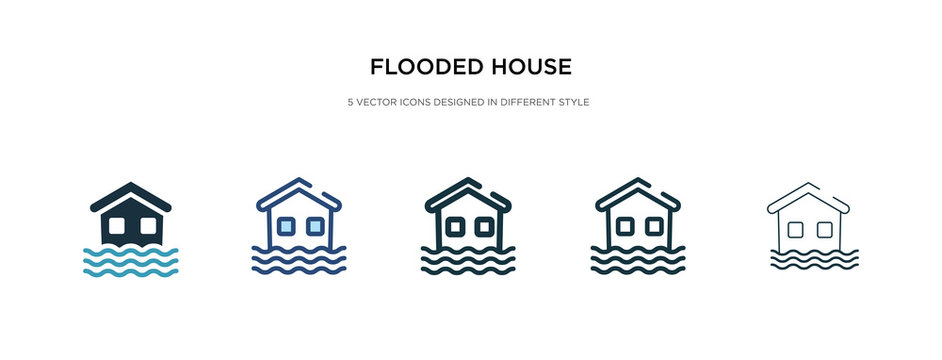 flooded house icon in different style vector illustration. two colored and black flooded house vector icons designed in filled, outline, line and stroke style can be used for web, mobile, ui