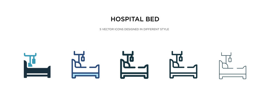 hospital bed icon in different style vector illustration. two colored and black hospital bed vector icons designed in filled, outline, line and stroke style can be used for web, mobile, ui