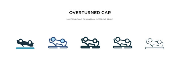 overturned car icon in different style vector illustration. two colored and black overturned car vector icons designed in filled, outline, line and stroke style can be used for web, mobile, ui