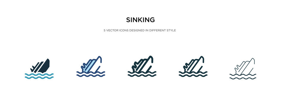 sinking icon in different style vector illustration. two colored and black sinking vector icons designed in filled, outline, line and stroke style can be used for web, mobile, ui