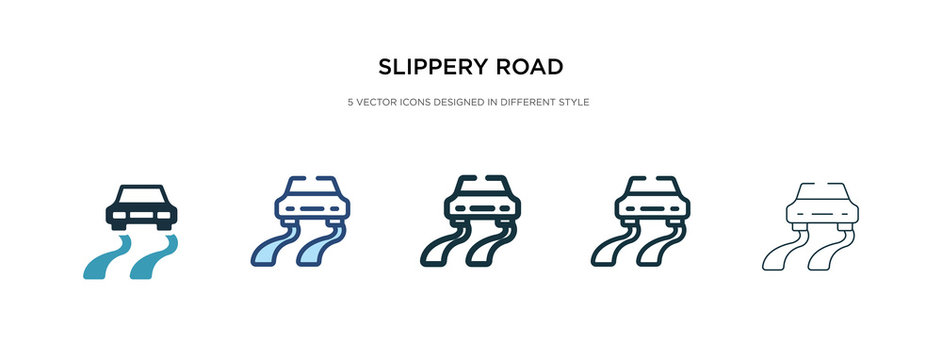 slippery road icon in different style vector illustration. two colored and black slippery road vector icons designed in filled, outline, line and stroke style can be used for web, mobile, ui