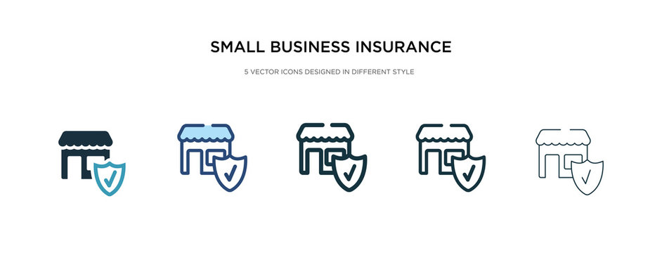 small business insurance icon in different style vector illustration. two colored and black small business insurance vector icons designed in filled, outline, line and stroke style can be used for