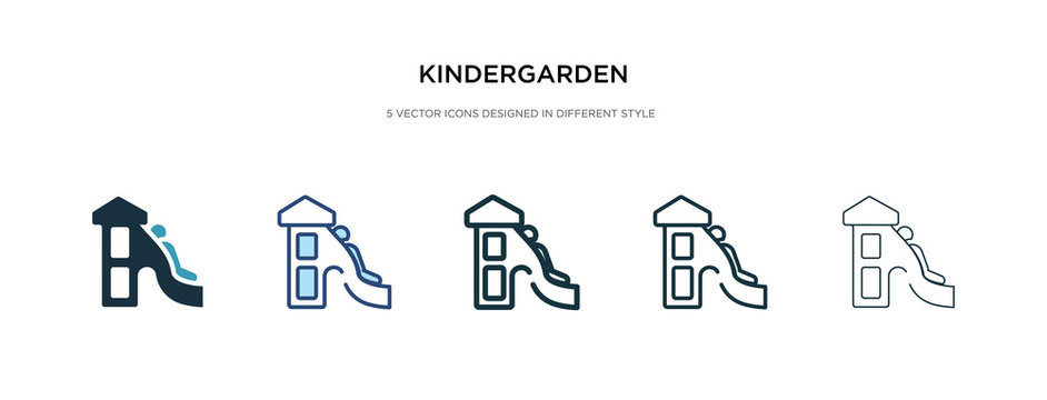 kindergarden icon in different style vector illustration. two colored and black kindergarden vector icons designed in filled, outline, line and stroke style can be used for web, mobile, ui