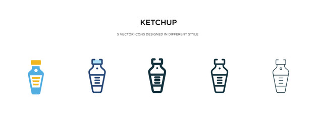 ketchup icon in different style vector illustration. two colored and black ketchup vector icons designed in filled, outline, line and stroke style can be used for web, mobile, ui