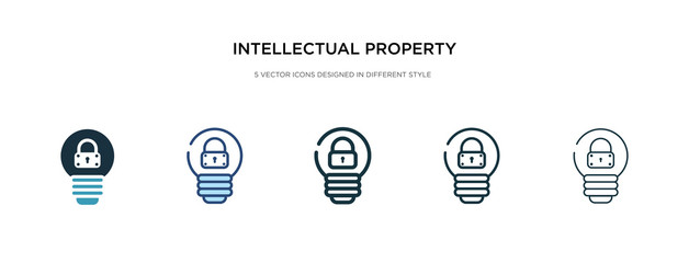 intellectual property icon in different style vector illustration. two colored and black intellectual property vector icons designed in filled, outline, line and stroke style can be used for web,