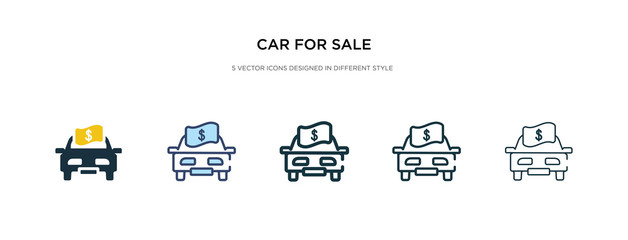 car for sale icon in different style vector illustration. two colored and black car for sale vector icons designed in filled, outline, line and stroke style can be used for web, mobile, ui