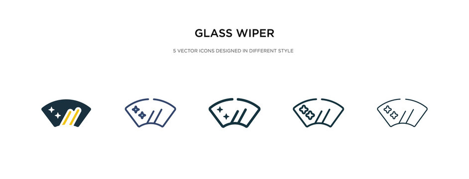 glass wiper icon in different style vector illustration. two colored and black glass wiper vector icons designed in filled, outline, line and stroke style can be used for web, mobile, ui
