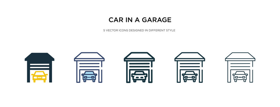 car in a garage icon in different style vector illustration. two colored and black car in a garage vector icons designed filled, outline, line and stroke style can be used for web, mobile, ui