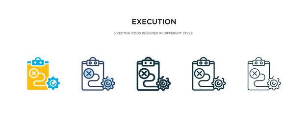 execution icon in different style vector illustration. two colored and black execution vector icons designed in filled, outline, line and stroke style can be used for web, mobile, ui