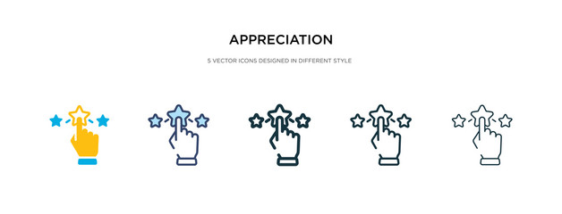 appreciation icon in different style vector illustration. two colored and black appreciation vector icons designed in filled, outline, line and stroke style can be used for web, mobile, ui