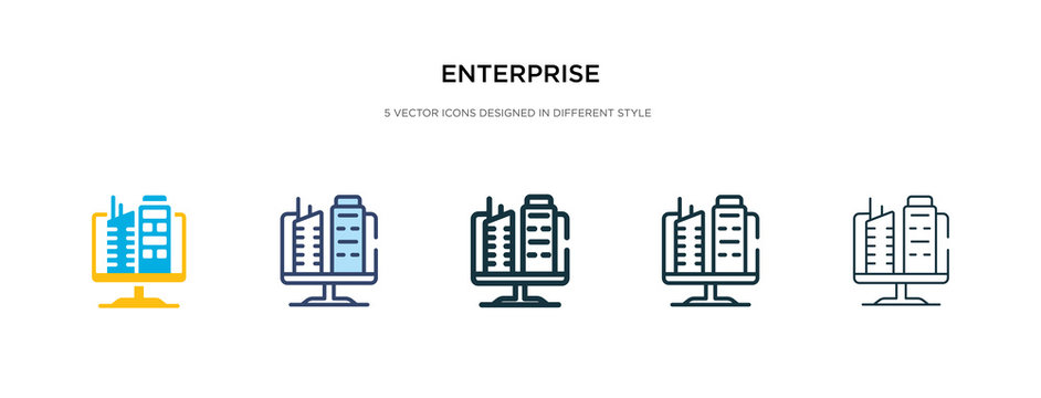enterprise icon in different style vector illustration. two colored and black enterprise vector icons designed in filled, outline, line and stroke style can be used for web, mobile, ui