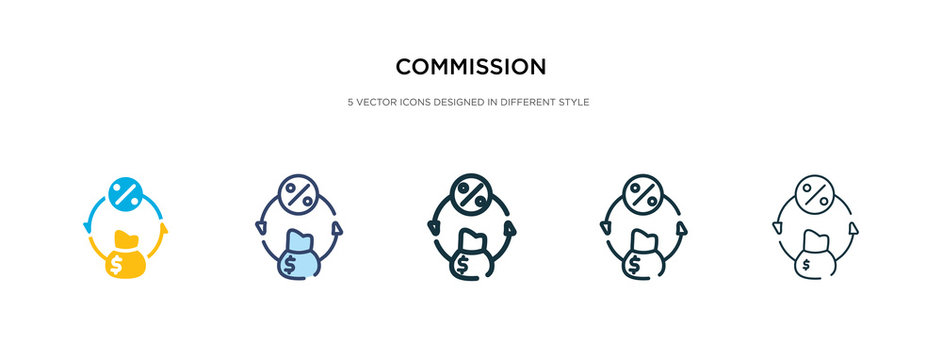 commission icon in different style vector illustration. two colored and black commission vector icons designed in filled, outline, line and stroke style can be used for web, mobile, ui