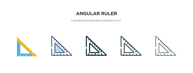 angular ruler icon in different style vector illustration. two colored and black angular ruler vector icons designed in filled, outline, line and stroke style can be used for web, mobile, ui Wall mural