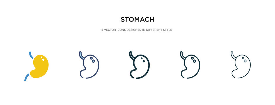 stomach icon in different style vector illustration. two colored and black stomach vector icons designed in filled, outline, line and stroke style can be used for web, mobile, ui
