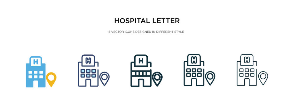 hospital letter in rounded square icon in different style vector illustration. two colored and black hospital letter in rounded square vector icons designed filled, outline, line and stroke style