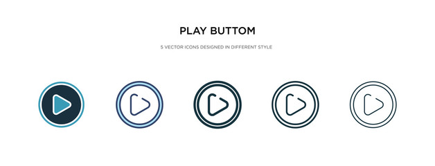 play buttom icon in different style vector illustration. two colored and black play buttom vector icons designed in filled, outline, line and stroke style can be used for web, mobile, ui