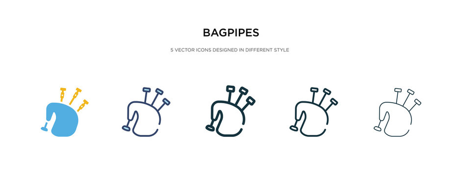 bagpipes icon in different style vector illustration. two colored and black bagpipes vector icons designed in filled, outline, line and stroke style can be used for web, mobile, ui