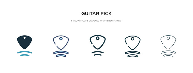 guitar pick icon in different style vector illustration. two colored and black guitar pick vector icons designed in filled, outline, line and stroke style can be used for web, mobile, ui