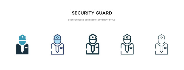 security guard icon in different style vector illustration. two colored and black security guard vector icons designed in filled, outline, line and stroke style can be used for web, mobile, ui