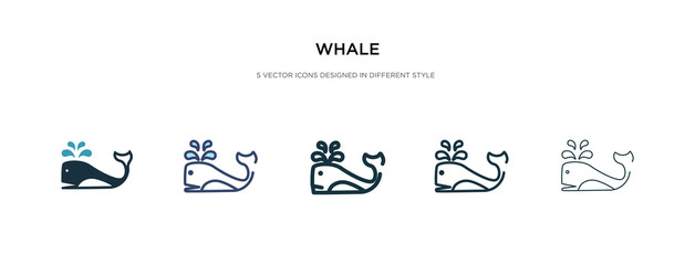whale icon in different style vector illustration. two colored and black whale vector icons designed in filled, outline, line and stroke style can be used for web, mobile, ui