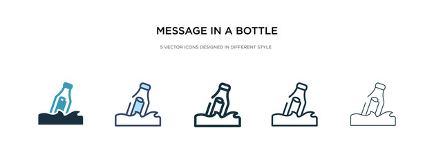 message in a bottle icon in different style vector illustration. two colored and black message in a bottle vector icons designed filled, outline, line and stroke style can be used for web, mobile,