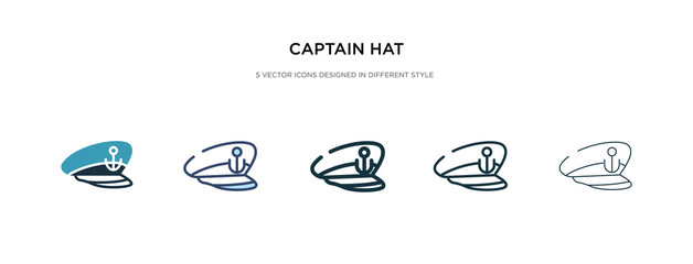 captain hat icon in different style vector illustration. two colored and black captain hat vector icons designed in filled, outline, line and stroke style can be used for web, mobile, ui