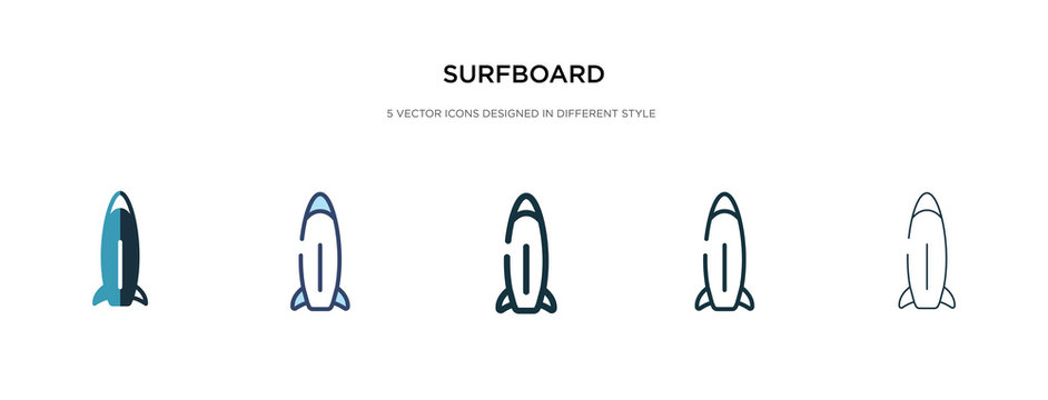 surfboard icon in different style vector illustration. two colored and black surfboard vector icons designed in filled, outline, line and stroke style can be used for web, mobile, ui