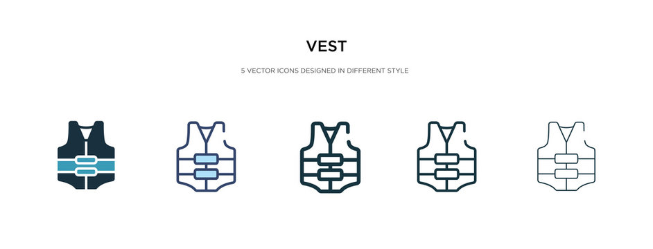 vest icon in different style vector illustration. two colored and black vest vector icons designed in filled, outline, line and stroke style can be used for web, mobile, ui