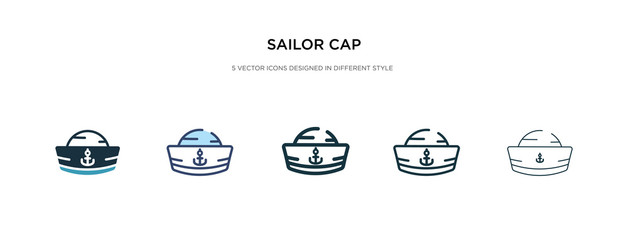 sailor cap icon in different style vector illustration. two colored and black sailor cap vector icons designed in filled, outline, line and stroke style can be used for web, mobile, ui