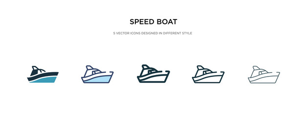 speed boat icon in different style vector illustration. two colored and black speed boat vector icons designed in filled, outline, line and stroke style can be used for web, mobile, ui Fotomurales