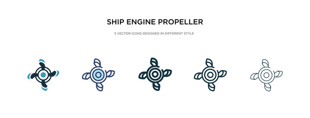ship engine propeller icon in different style vector illustration. two colored and black ship engine propeller vector icons designed in filled, outline, line and stroke style can be used for web, Wall mural