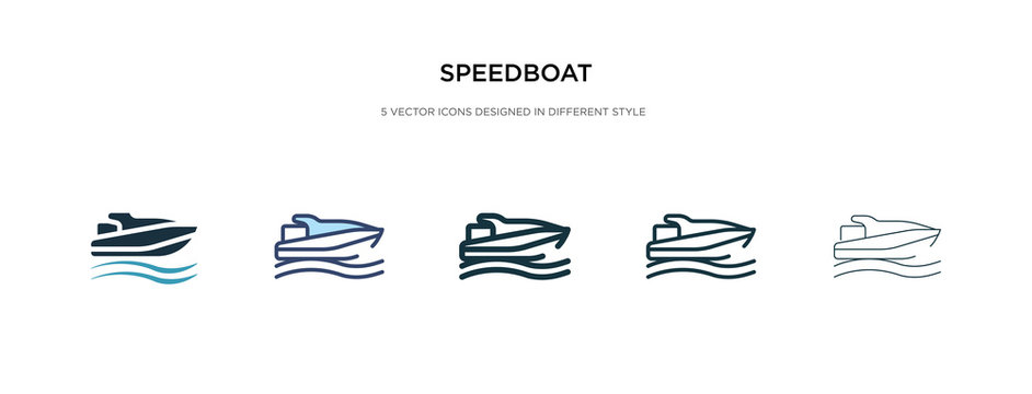speedboat icon in different style vector illustration. two colored and black speedboat vector icons designed in filled, outline, line and stroke style can be used for web, mobile, ui