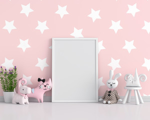 Empty photo frame for mockup in child room, 3D rendering
