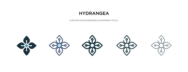 hydrangea icon in different style vector illustration. two colored and black hydrangea vector icons designed in filled, outline, line and stroke style can be used for web, mobile, ui