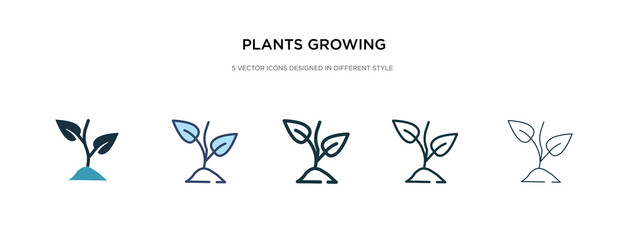 plants growing icon in different style vector illustration. two colored and black plants growing vector icons designed in filled, outline, line and stroke style can be used for web, mobile, ui