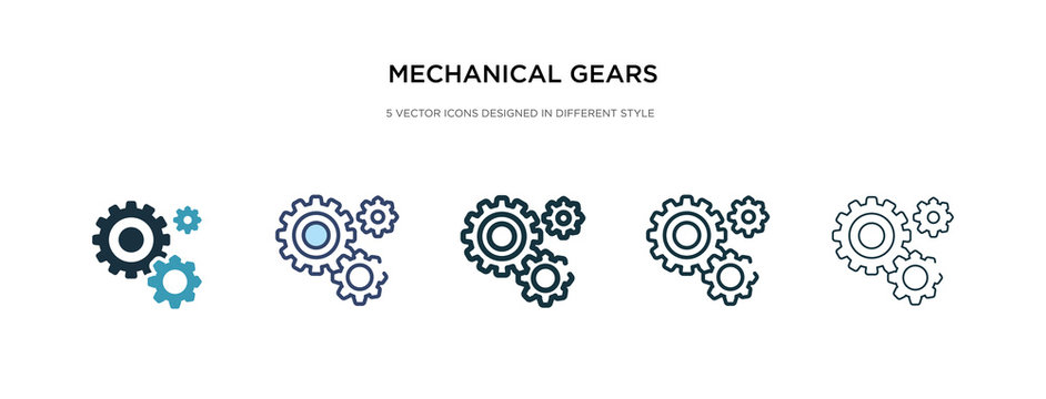mechanical gears icon in different style vector illustration. two colored and black mechanical gears vector icons designed in filled, outline, line and stroke style can be used for web, mobile, ui