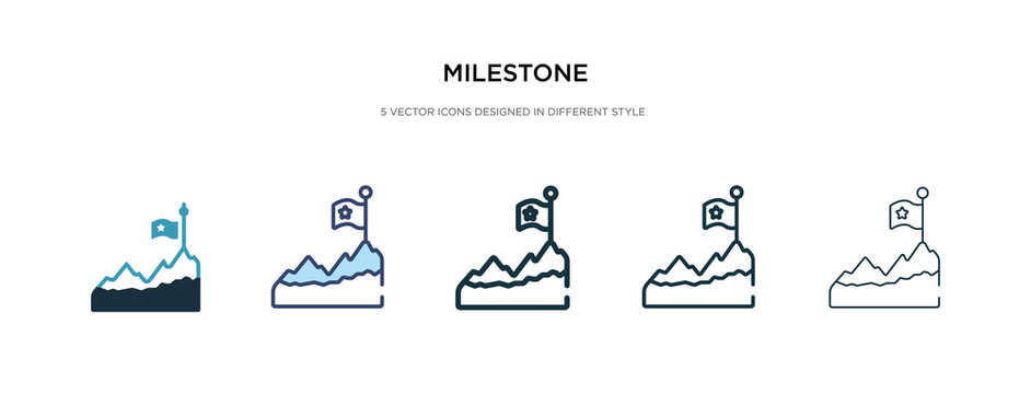 milestone icon in different style vector illustration. two colored and black milestone vector icons designed in filled, outline, line and stroke style can be used for web, mobile, ui