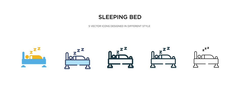 sleeping bed icon in different style vector illustration. two colored and black sleeping bed vector icons designed in filled, outline, line and stroke style can be used for web, mobile, ui