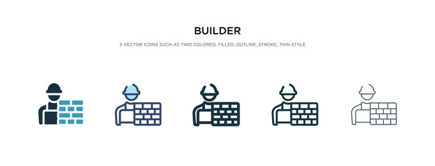 builder icon in different style vector illustration. two colored and black builder vector icons designed in filled, outline, line and stroke style can be used for web, mobile, ui
