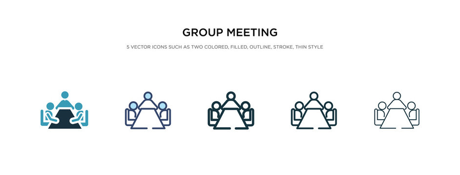 group meeting icon in different style vector illustration. two colored and black group meeting vector icons designed in filled, outline, line and stroke style can be used for web, mobile, ui