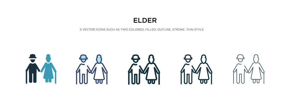 elder icon in different style vector illustration. two colored and black elder vector icons designed in filled, outline, line and stroke style can be used for web, mobile, ui