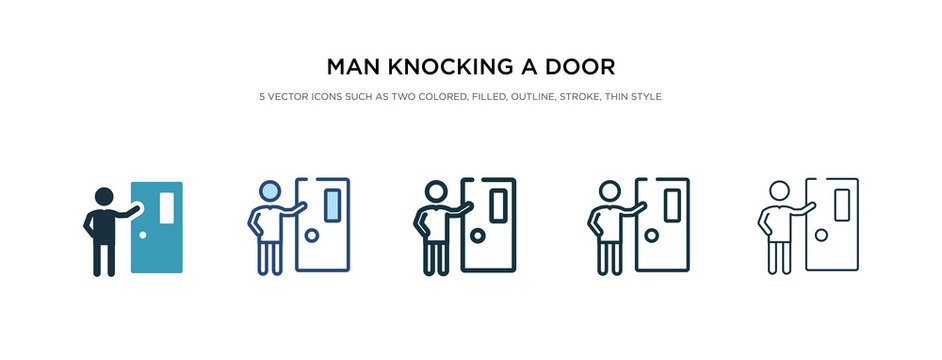 man knocking a door icon in different style vector illustration. two colored and black man knocking a door vector icons designed in filled, outline, line and stroke style can be used for web,