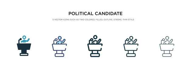political candidate speech icon in different style vector illustration. two colored and black political candidate speech vector icons designed in filled, outline, line and stroke style can be used