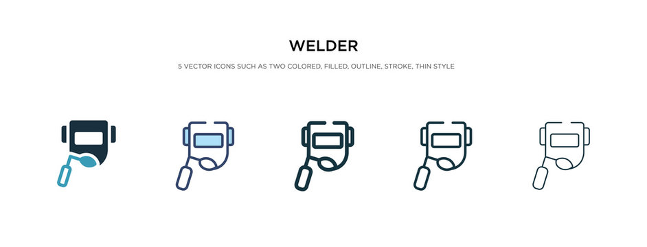 welder icon in different style vector illustration. two colored and black welder vector icons designed in filled, outline, line and stroke style can be used for web, mobile, ui