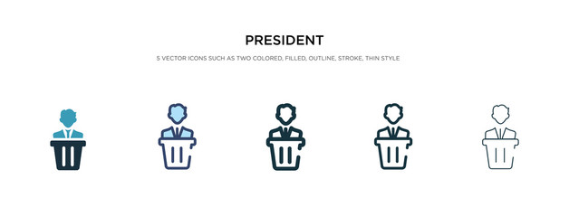 president icon in different style vector illustration. two colored and black president vector icons designed in filled, outline, line and stroke style can be used for web, mobile, ui Fotomurales