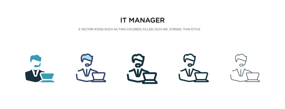 it manager icon in different style vector illustration. two colored and black it manager vector icons designed in filled, outline, line and stroke style can be used for web, mobile, ui